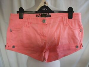 Ladies-Shorts-Hotpants-River-Island-UK-14-bright-highlighter-pink-cotton-7247