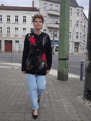 Onesto Laura Kent 90er Long Cardigan Pullover Nero True Vintage Cardigan 90s-mostra Il Titolo Originale
