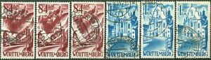 Franzoesische-Zone-Wuerttemberg-Spezial-26-y-27-y-Type-I-III-gestempelt