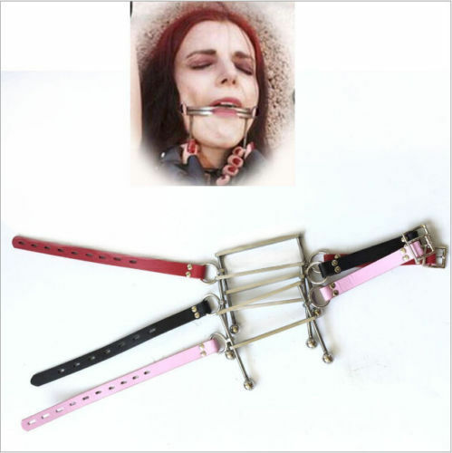 Stainless Steel Tongue Cangue Restraint Open Mouth Plug Stuffer Slave Gag Fancy
