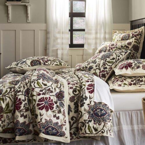 Indian Floral Print Queen QUILT Oversized Bedspread Cream Burgundy Green Hope