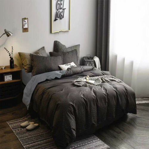 Christmas Plaid Quilt Duvet Cover Set Flat Sheet Pillowcase Bedding Set Home Dec