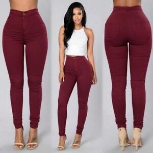 Pantalones Jeans De Tiro Alto Para Mujer Cintura Alta Levanta Cola Trousers New Ebay