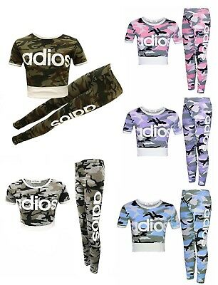 GUBA Girls New Adios Athletic Camouflage Crop TOP /& Legging Two Piece Set 7-13 Years