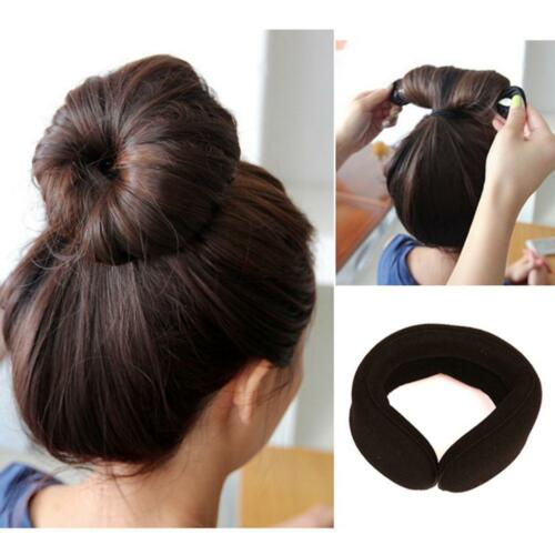 2x Magic Sponge Clip Foam Donut Hair Styling Bun Curler Tool Maker Ring Twists!