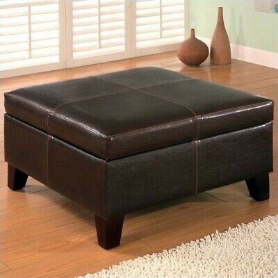 Super Coaster Faux Leather Square Coffee Table Ottoman In Dark Brown Unemploymentrelief Wooden Chair Designs For Living Room Unemploymentrelieforg