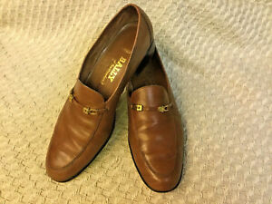 BROWN GOLD TONE HORSEBIT LOAFERS SIZE