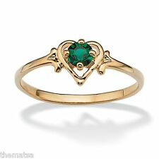 WOMENS 14K GOLD GP BIRTHSTONE EMERALD HEART SHAPE RING SIZE  5 6 7 8 9 10