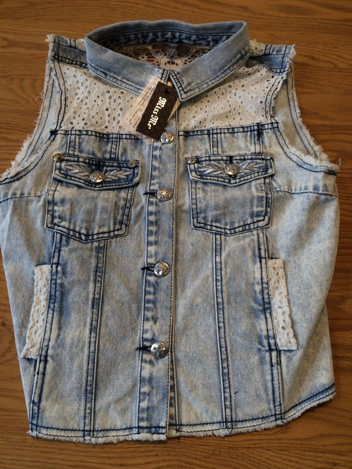Miss Me womens Denim Vest  MDJ122T Light denim
