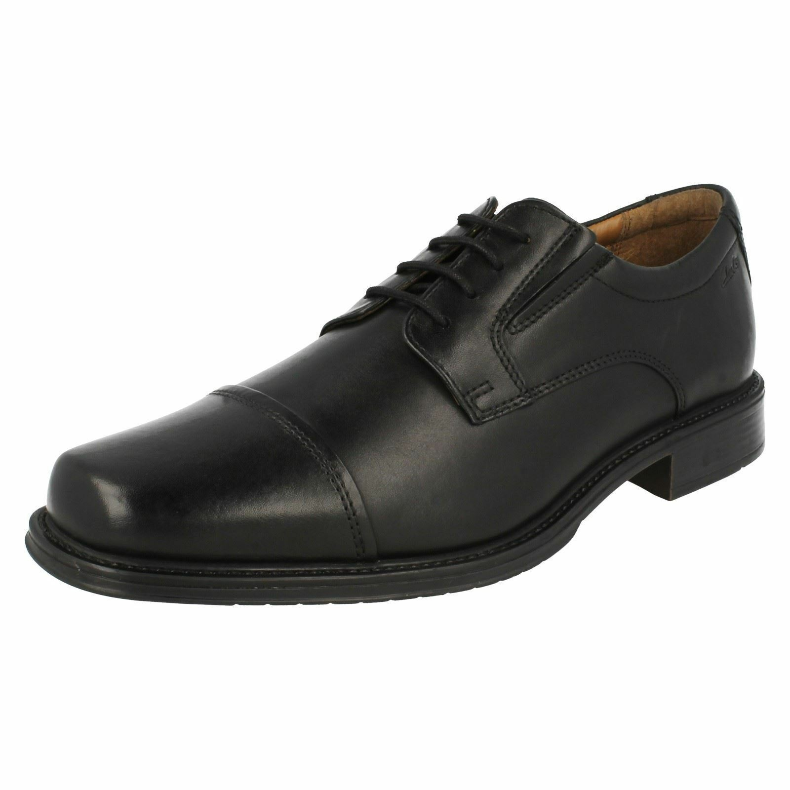Mens Clarks Driggs Cap Black Leather Smart Lace Up Shoes