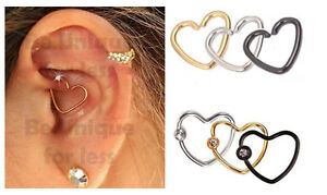 3pc Surgical Steel Crystal Heart Ring Hoop Helix Cartilage Tragus