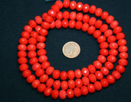 Strang 64 cm Ellipses Boulier rouge opaque à facettes Séquoia perles de verre 9 mm