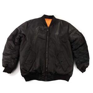 4a96e4bfb23 Vintage Jordan Craig Nylon MA-1 Bomber Flight Jacket Black Orange ...