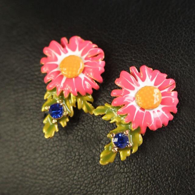 Boucles d`Oreilles Clous Feuille Vert Chrysanthemum Fleur Rose Bleu Original L1