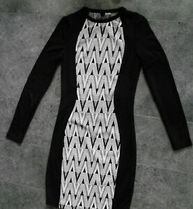 Details zu Damen H&M Etui Damen Kleid Bleistiftkleid 9 schwarz-weiß