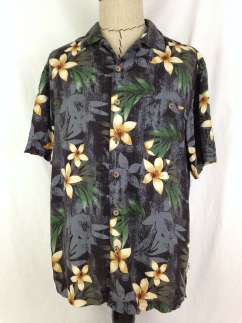 Island Shores Mens Hawaiian Shirt L Size Black Gold Floral Beach Camp 100% Rayon