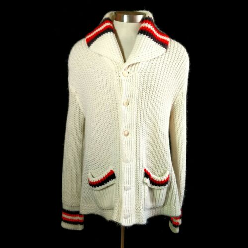 Vintage 1950s Shawl Collar Cardigan Sweater XL