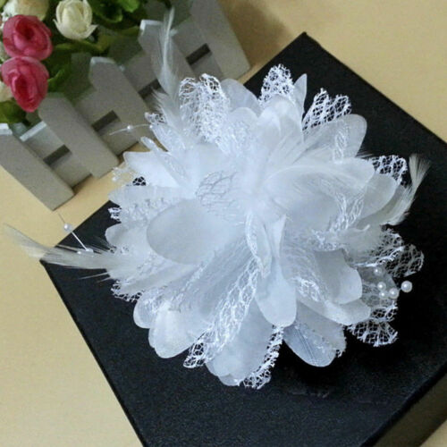 Colorful Flower Hair Clip Feather Barrette For Wedding Bridal Dancer Headband