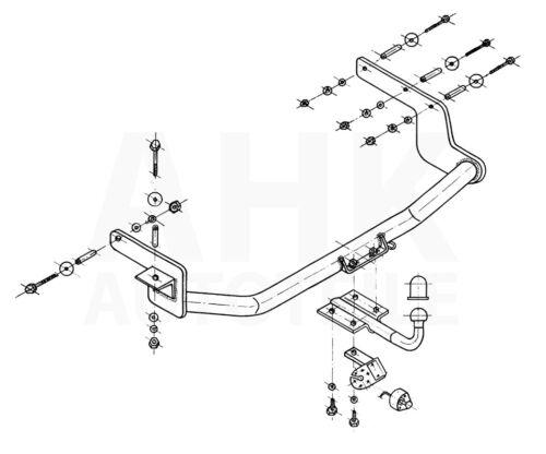 Kpl AHK Für Renault Megane I GrandTour 99-03 Anhängerkupplung starr+ES 13p uni