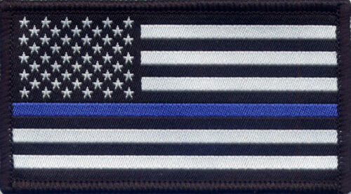 Police The Thin Blue Line Woven Badge Patch USA Stars and Stripes 8.2cm x 4.5cm