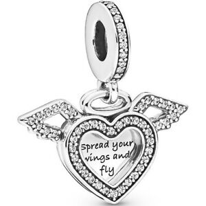 PANDORA-Charm-Dangle-Element-798485-CO1-034-Heart-amp-Angel-Wings-034-Silber-Bead