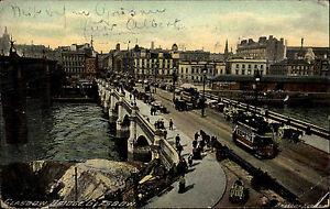 Glasgow-Glesga-Schottland-Scotland-AK-1908-Bridge-Bruecke-Strassenbahn-Tram-Strasse