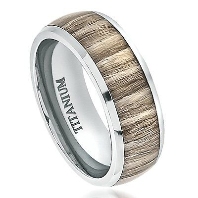 Titanium Ring Wedding Band Real Ashen Rose Wood Inlay Comfort Fit 8mm Zebra Wood