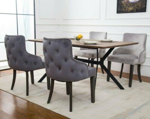 Luxe Qualité Deep Bouton Arrière Set de 2//4//6//8 chaises de salle à manger 4 couleurs