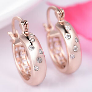 Huggie-Ring-Rose-Gold-Filled-Clear-Crystal-Sapphire-Women-Lady-Hoop-Earrings-BOX