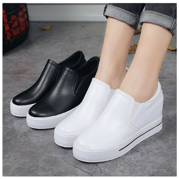 Casual New Women Soft Platform Chaussures Hidden Wedge Loafers High Heels Baskets