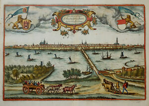 NIEDERLANDE-HOLLAND-KAMPEN-IJSSEL-BRAUN-HOGENBERG-SCHIFFE-FREGATTEN-WAPPEN-1581