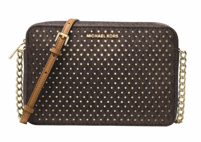 a4d4dd06bba2 Michael Kors Brown Gold Large East West Signature Perforated Crossbody Bag  Purse