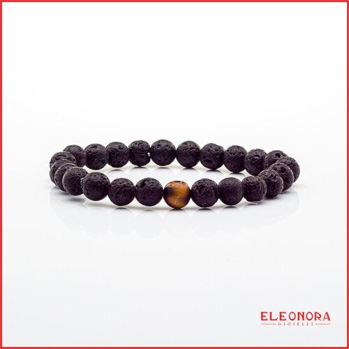 bracciale da uomo in pietre dure naturali elastico e pietra lavica braccialetto