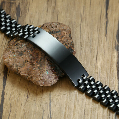 Men Wide Band Bracelet Muslim Islam Allah Personalized Custom Stainless Steel