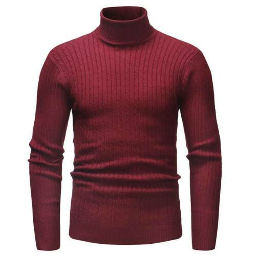 Mens Winter Warm Knitted High Roll Turtle Neck Slim Pullover Sweater Jumper Tops