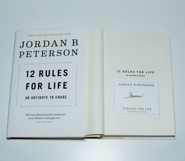 JORDAN B. PETERSON SIGNED '12 RULES FOR LIFE' HC BOOK ANTIDOTE TO CHAOS COA BBC