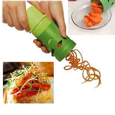 New Easy Use Garnish Veggie Twister Fruit&Vegetable Cutter Spiral Slicer Green