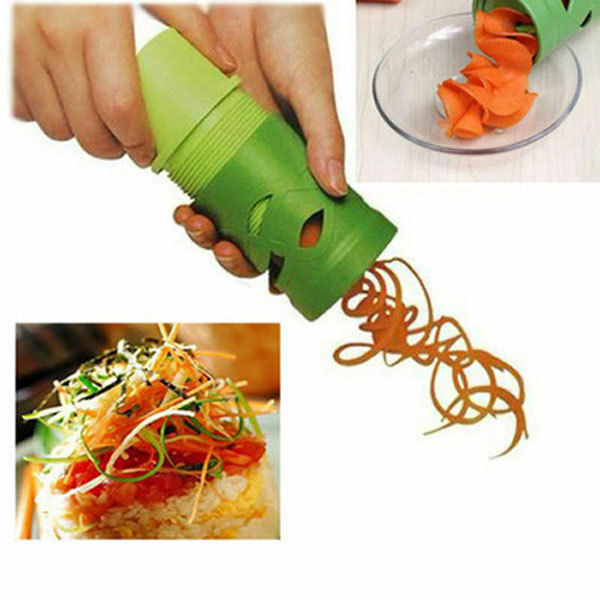 New Easy Use Garnish Veggie Twister Fruit&Vegetable Cutter Spiral Slicer Green
