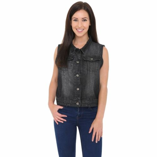 Women/'s Denim Chest Flap Pockets Vest Ladies Casual Jean Sleeveless Jacket Coat