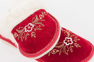 Mujeres Rojo 100% Lana Zapatillas De Cuero De Gamuza Zapatos Talla 3 4 5 6 7 8 Flip-Flop F