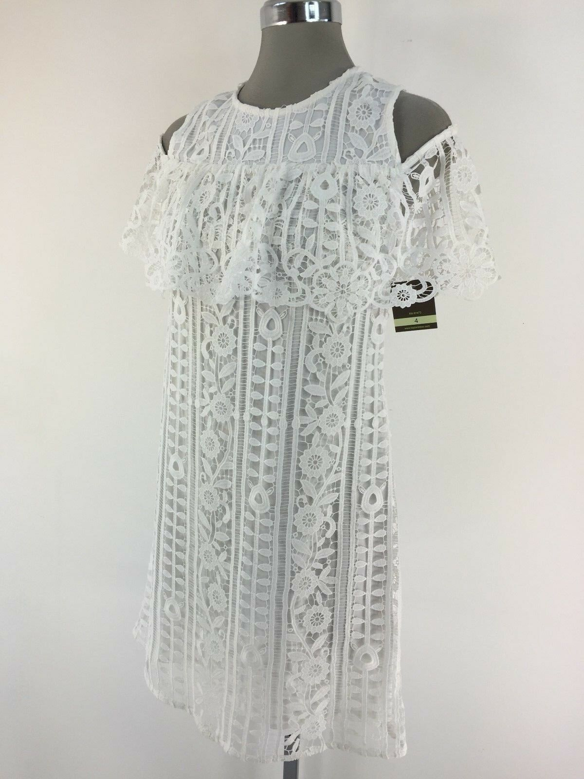 Taylor NEW Elegant and Modern Cream Crochet Knit Cold Shoulder Dress 4 6 10 12