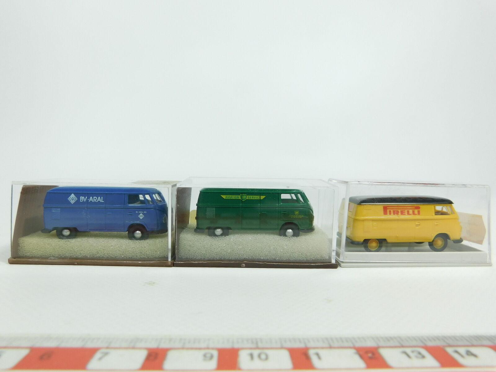 Bd384-0, 5  3x Brekina h0 1 87 volkswagen t1 t1 t1  3201 bp aral +32525 pirelli Neuw + embalaje original 200bda