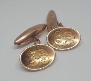 Pair-of-9k-solid-rose-gold-vintage-engraved-cufflinks-5-71g