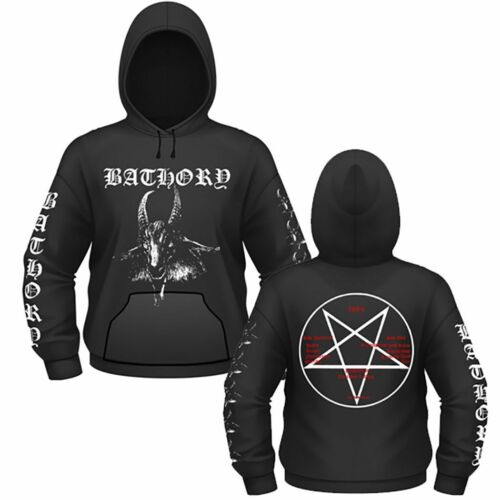 Bathory White Goat Pentagram Thrash Viking Metal Band Pullover Hoodie 10150519