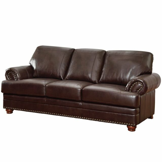 Bowery Hill Faux Leather Sofa with Rolled Arms in Brown
