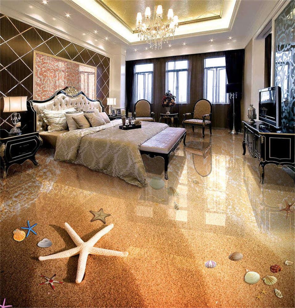 Glabrous Sand 3D Floor Mural Photo Flooring Wallpaper Home Print Decoration
