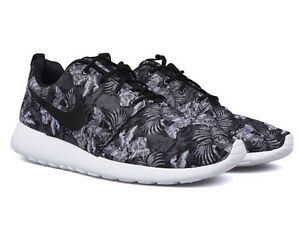 wuohg Nike Roshe Run Print Floral Grey Black 655206-010 Sunrise Summer