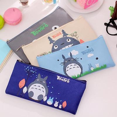 Cartoon Cat Totoro Canvas Pencil Pen Case Pouch Cosmetic Makeup Organizer Bag D-