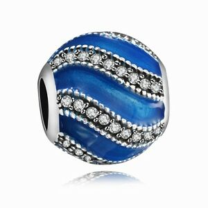 Enamel-Blue-Bead-Silver-Charm-CZ-Jewelry-Fit-Fashion-925-Sterling-Bracelet-Chain