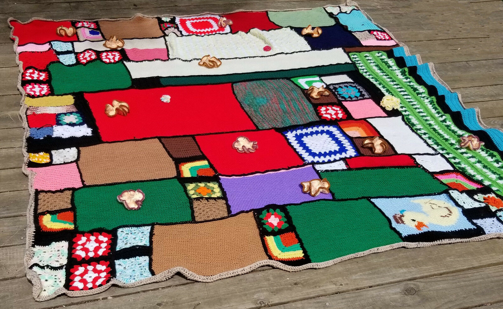 Hand Crocheted Afghan Crazy Quilt Style Patchwork BoHo Unused 84  x 86  Unique